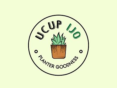 Ucup ijo plants shop design logo illustration icon app
