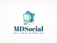 MDSocial Logo logo project design project graphic design macintosh retro icon computer social media trend modern logo design logo