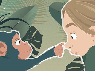 Jane Goodall fanart digital chimp jane goodall vector illustration