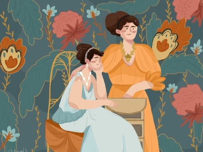sisters illustration girl sketch