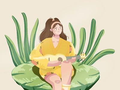 guitar ps illustration girl sketch