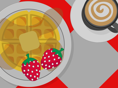 Breakfast of a large waffle with syrup and coffee. design illustration vector breakfast syrup strawberry coffee waffle