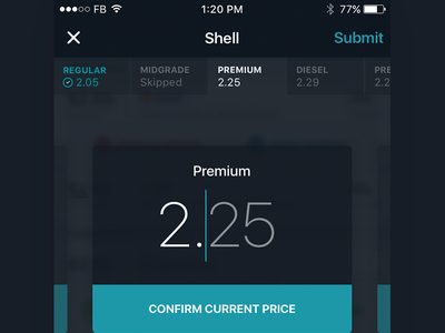 Report Prices Concept card interaction fuel gas ios