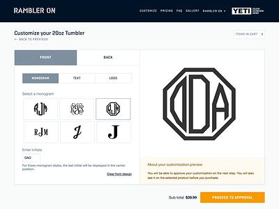Add your monogram, text or image monogram customization ecommerce