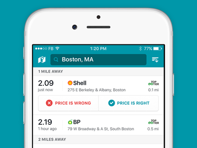 Station Listings and Quick Report report filter price ios driving car gas