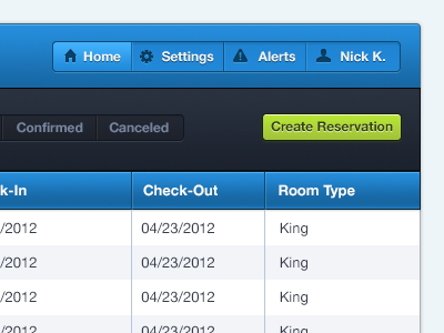 Reservation and Top Header ui interface button nav table