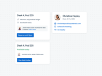 Employee facing popovers detail information overlay tooltip popover modal people desks