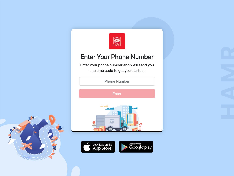First screen for book a truck flat app website vector web ux ui design