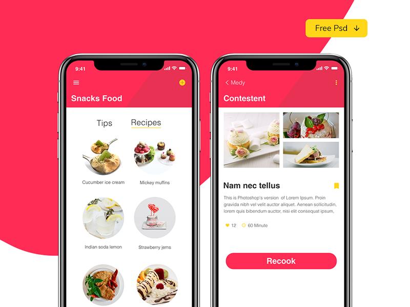 Food app white red mobile freepsd iphonex clean app food