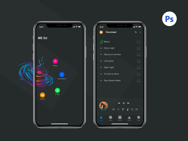 Iphone X Music Screens app free psd music iphone x ios