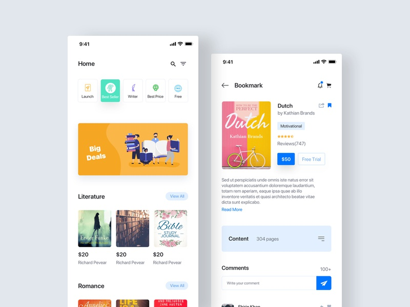 Booklib App product details screen home online knowledge learning read reading book ios mobile sketch design app website uiux clean