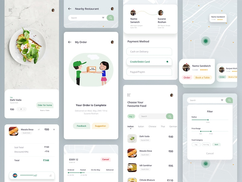 Food App home navigation payment method filter book a table order checkout map location track lunch dinner restaurant food illustration mobile sketch design app uiux