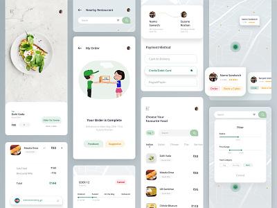 Food App home navigation payment method filter book a table order checkout map location track lunch dinner restaurant food illustration mobile sketch design app uiux