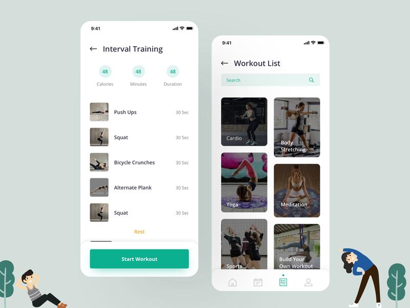 Workout List app design clean design app uiux ios app body building tracker workout app yoga app fitness app health tracker workout tracker fitness tracker training health yoga workout gym fitness