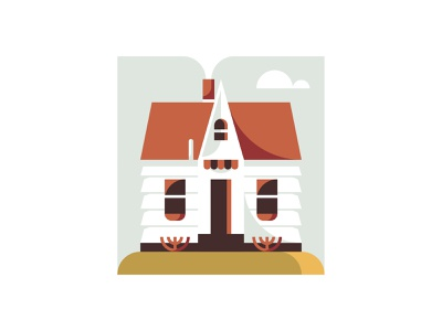 A Brisk Afternoon wood curtains smoke simple vector midwest cloud country tiny house chimney roof windows door bush hill house illustration house home