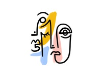 Fleeting Faces illustration simple illustrator love painting drawing fresco procreate abstract one line faces