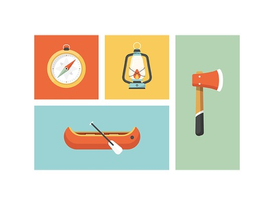 Equipped vector icon design adventure tools outdoors compass lantern axe canoe illustration camping