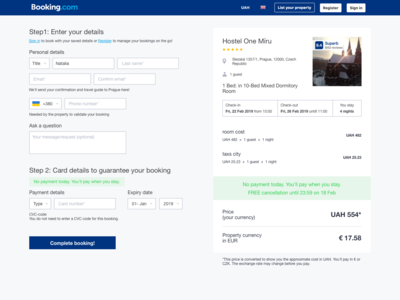Redesign on Booking website reserve page