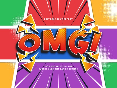 OMG Comic Text Effect halftone retro vintage colorful pop art cartoon comic omg typesetting typography text effect lettering headline font effect editable text editable font alphabet 3d text