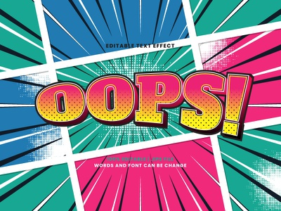 Oops! Comic Text Effect halftone pop art colorful vintage retro cartoon comic oops typography typesetting text effect lettering headline font effect editable text editable font alphabet 3d text