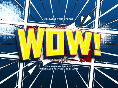 WOW! Comic Text Effect retro vintage colorful pop art halftone cartoon comic typography typesetting text effect wow lettering headline font effect editable text editable font alphabet 3d text