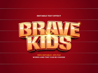 Brave Kids Text Effect kids brave text effect typography typesetting lettering headline font effect editable text editable font alphabet 3d text