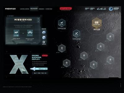 Frontier — Probe. Expanse. Deploy. future spaceship space design illustration game art gamedesign gamedev game 3d c4d ux ui