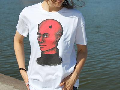 Redboi tshirt design tshirt design gothic dark portrait illustration face drawing