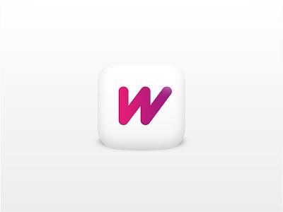 3D app design w icon app 3d flat shades ettering monogram logo