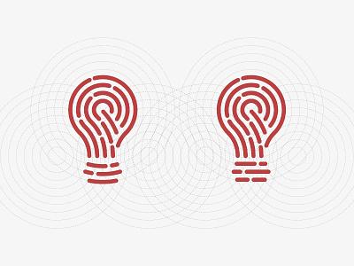 Idea+Fingerprint - Left or Right? guidelines grid bulb idea digital touch identity fingerprint icon symbol trademark logo