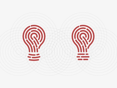 Idea+Fingerprint - Left or Right? guidelines grid bulb idea digital touch identity fingerprint icon symbol trademark logo