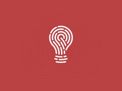 idea+Fingerprint  guidelines grid bulb idea digital touch identity fingerprint icon symbol trademark logo