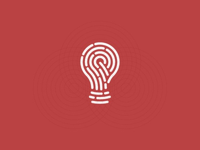 idea+Fingerprint  guidelines grid bulb idea digital touch identity fingerprint icon symbol trademark logo