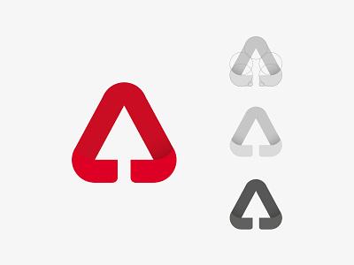 Arrow software hi tech grid minimal monogram letter mark letter a upgrade logo arrow
