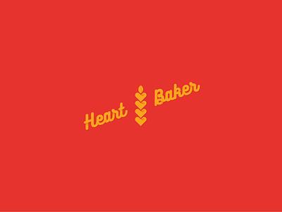 Heart Baker wheat bakery love heart logotype pastry trade mark logo