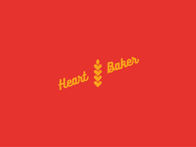 Heart Baker wheat bakery love heart logotype pastry trade mark logo