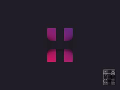 H - HIDDEN gradient lettermark letter h logo design logo hidden