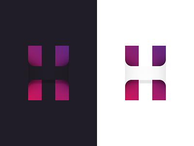 H - HIDDEN gestalt shadows typogaphy type hide gradient logodesign logo lettermark letter hidden h