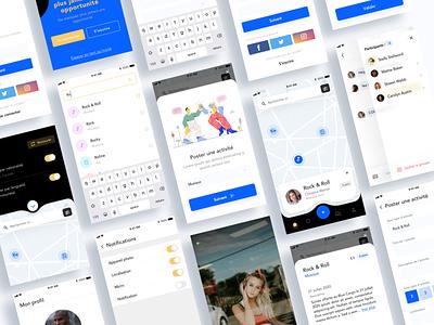 Social app ui blue tchat chat mobile app social