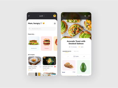 Food app application app recette mobile ui recipies recipie food