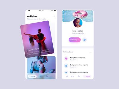Dancing app challenge blue uidesigner app design appdesign app gradient ui design uidesign ui mobile ui mobile design