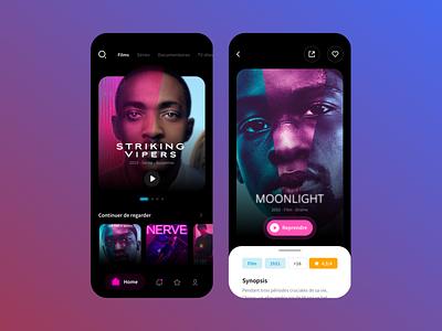 Streaming app app violet black dark mobile ui streaming movie film hulu netflix