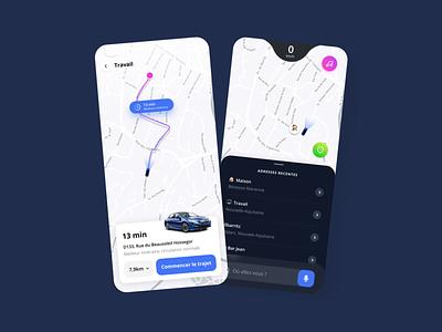 GPS map direction trajet car mobile ui design app waze gps