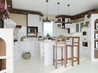 White kitchen visualization 3d kitchen white