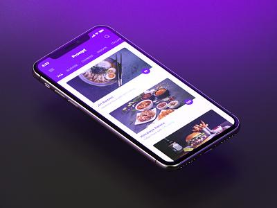 Prompt — Restaurant List list food delivery iphone x application app mobile interface ui design