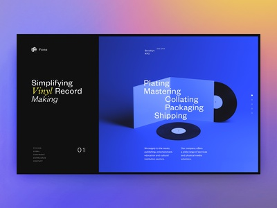 Fono Homepage website webdesign web vinyl ui design slides records music landing interface homepage 3d