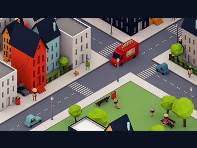 Panini Attack (Animation) 3d animation polygon low-poly city cars character car trees video park gobelins school buildings building road street sidewalk town colors happy