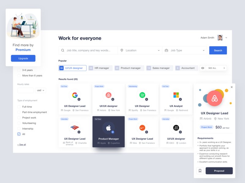 Work for everyone freelance resume find job dashboad ux ui jobsite webapp job