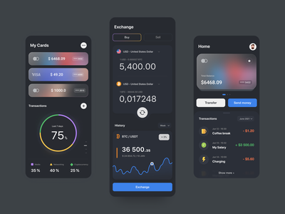 Mobile Banking App finance banking mobile app investment wallet cryptocurrency exchange crypto wallet money creditcard transaction fintech banking app financial mobile apps finance app mobile bank mobile ui