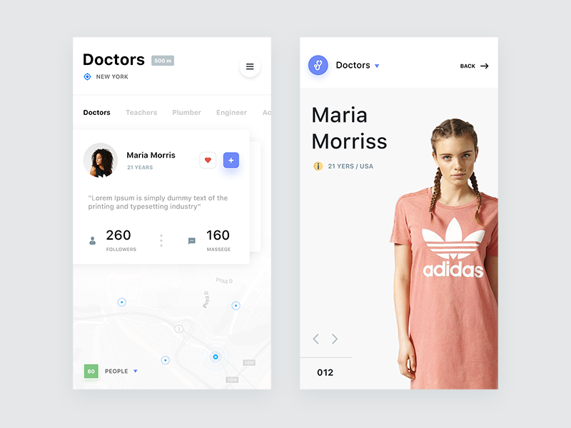 Search for a specialist map design iphone profile search ios flat white ux ui